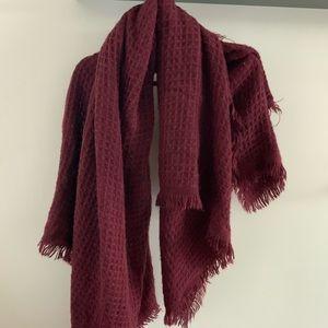 Maroon oversized blanket scarf